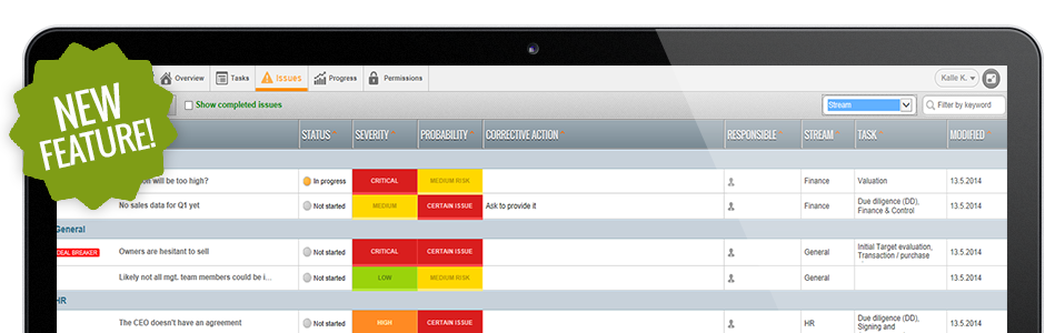 New Feature: Issues and Risks Management
