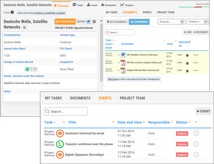 Midaxo M&A software - tasks and contacts screenshot