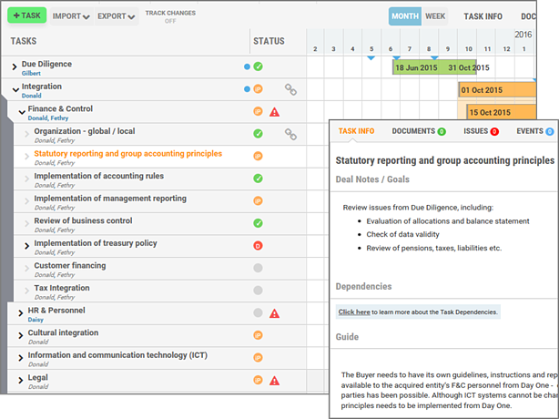 Define task lists and objectives in Midaxo M&A software