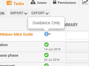 Midaxo task status update screenshot - guidance tag
